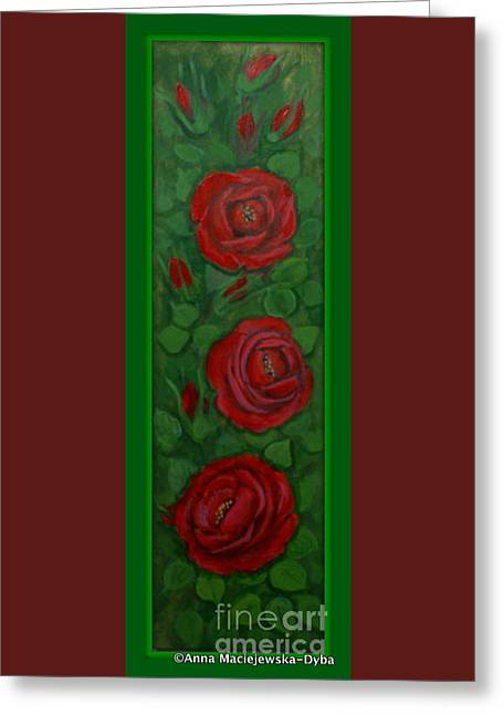Krakowscy Malarze Greeting Cards - Red Roses Greeting Card by Anna Folkartanna Maciejewska-Dyba