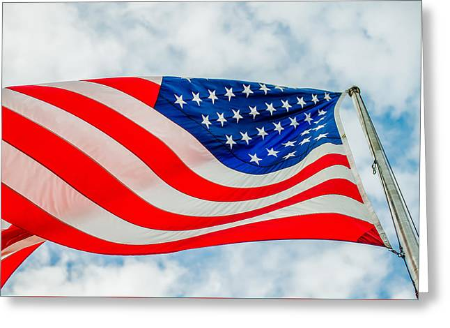 White Cloth Greeting Cards - Red White And Blue American Flag Greeting Card by Alexandr Grichenko