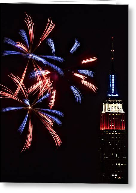 July 4th Photographs Greeting Cards - Red White and Blue Greeting Card by Susan Candelario