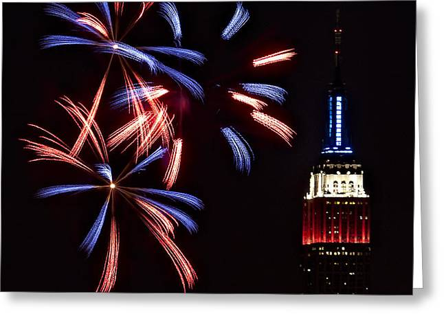 Red White and Blue Greeting Card by Susan Candelario