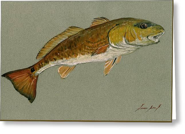 Redfish Painting Greeting Card by Juan  Bosco