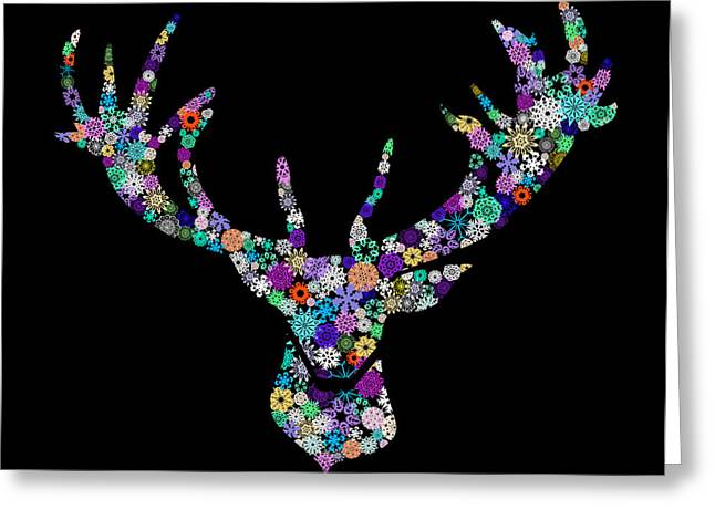 Colorful Animal Art Greeting Cards - Reindeer Design By Snowflakes Greeting Card by Setsiri Silapasuwanchai