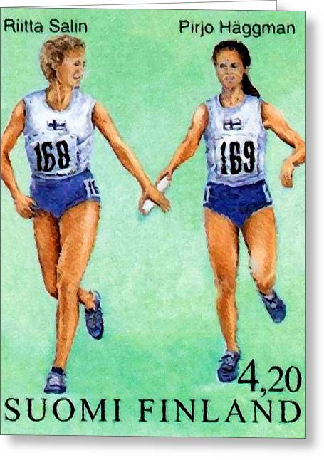 Relay Race Greeting Card by Lanjee Chee