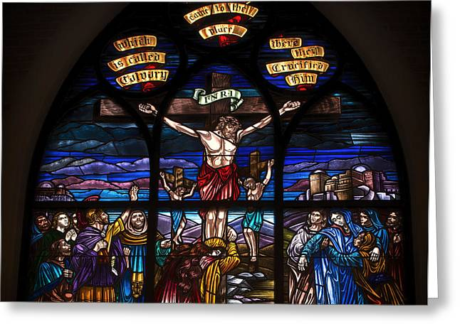 Jesus Glass Art Greeting Cards - Religious Stained Glass Greeting Card by Mountain Dreams