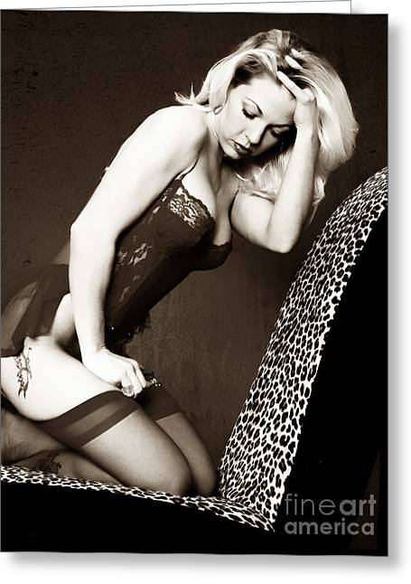 Warm Tones Greeting Cards - Retro Pinup Greeting Card by Clayton Bruster