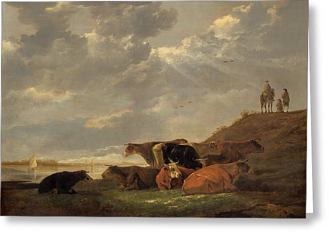Outlook Paintings Greeting Cards - River Landscape With Cows Greeting Card by Aelbert Cuyp