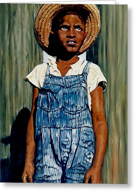 African-american Greeting Cards - Riverboy Greeting Card by Perry Ashe