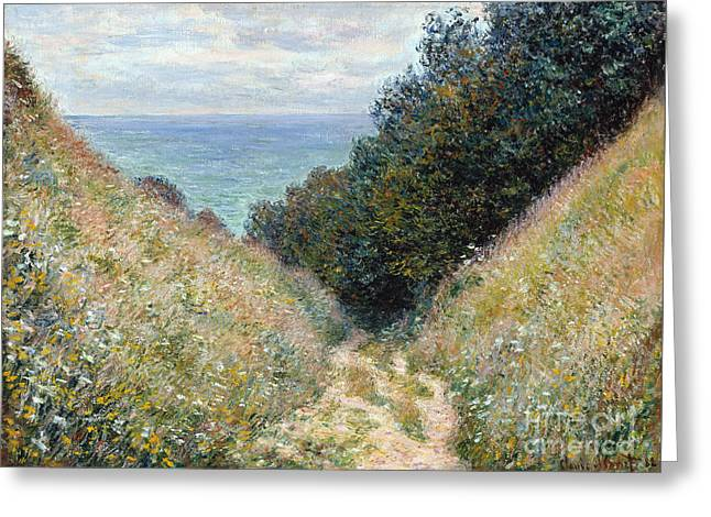 Vintage Painter Greeting Cards - Road at La Cavee Greeting Card by Claude Monet