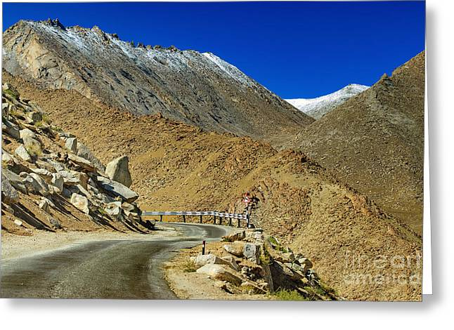 Snow Scene Landscape Greeting Cards - Road Mountains of Leh Ladakh Jammu and Kashmir India Greeting Card by Rudra Narayan  Mitra
