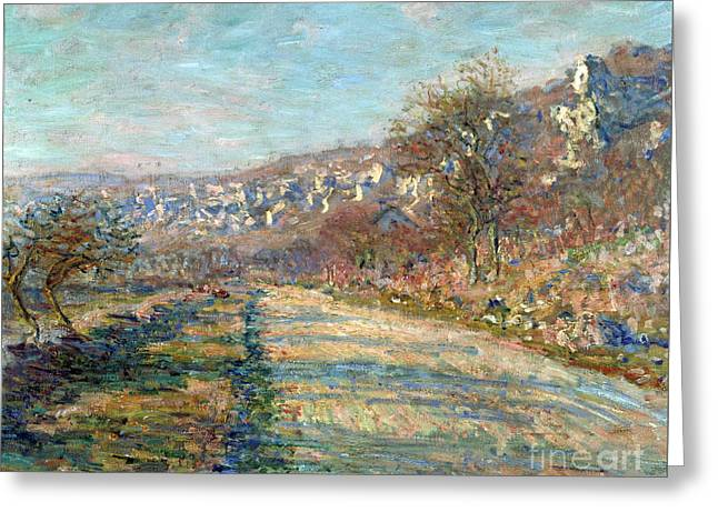 Vintage Painter Greeting Cards - Road of La Roche Guyon Greeting Card by Claude Monet