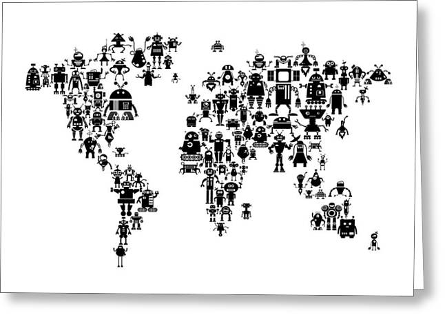 Cartography Digital Art Greeting Cards - Robot Map of the World Map Greeting Card by Michael Tompsett