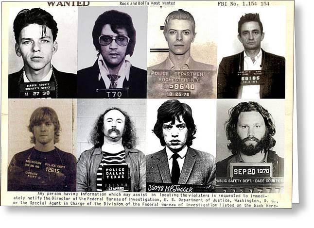Rock and Roll's Most Wanted Greeting Card by Lee Dos Santos
