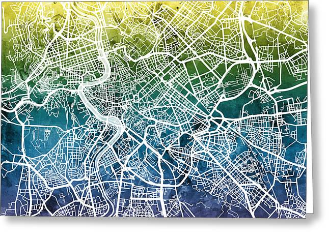 Di Greeting Cards - Rome Italy City Street Map Greeting Card by Michael Tompsett