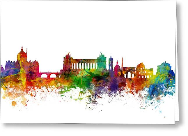 Cityscape Digital Art Greeting Cards - Rome Italy Skyline Greeting Card by Michael Tompsett