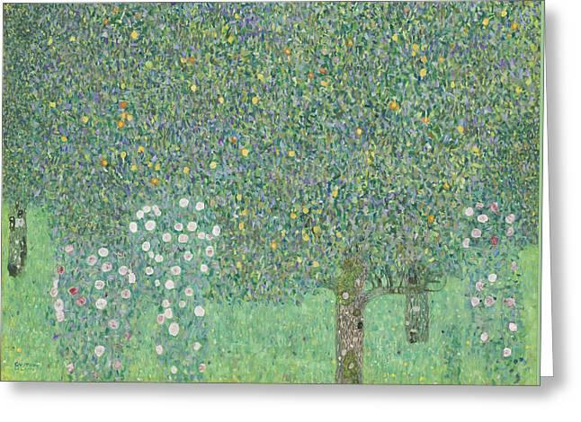 Rosebushes Under The Trees Greeting Card by Gustav Klimt