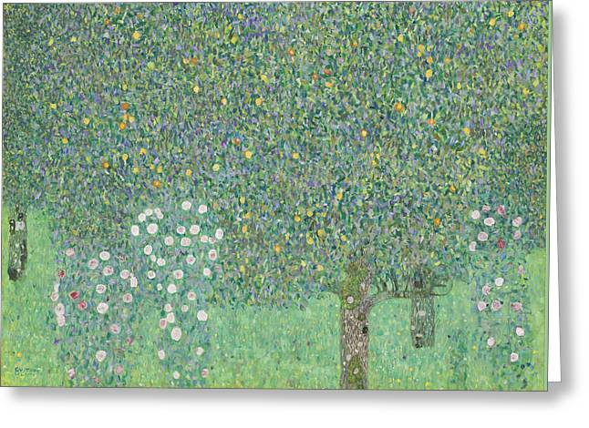 Rosebush Greeting Cards - Rosebushes under the Trees Greeting Card by Gustav Klimt