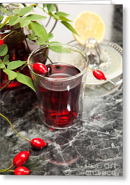Rosehip Tea With Lemon In Glass Greeting Card by Wolfgang Steiner