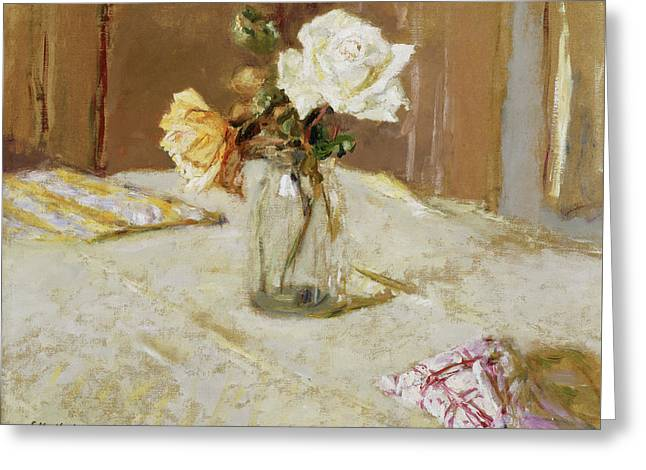 Roses In A Glass Vase Greeting Card by Edouard Vuillard
