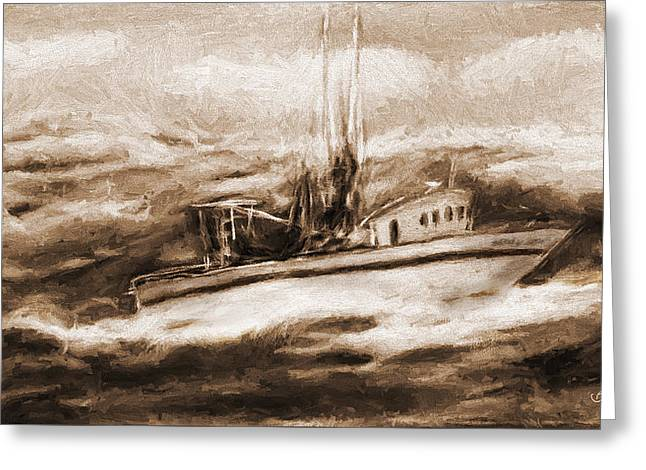 Fishing Boats Greeting Cards - Rough Seas Greeting Card by Barry Jones