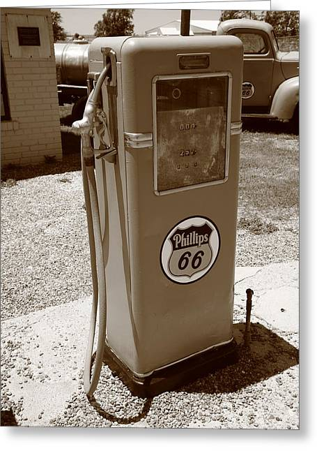 Mclean Greeting Cards - Route 66 Gas Pump Greeting Card by Frank Romeo