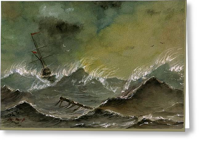 Seascape Art Greeting Cards - Sail Ship Watercolor Greeting Card by Juan  Bosco