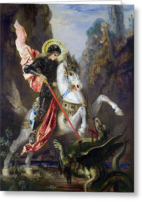 Knights Castle Greeting Cards - Saint George and the Dragon Greeting Card by Gustave Moreau