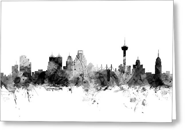 San Antonio Greeting Cards - San Antonio Texas Skyline Greeting Card by Michael Tompsett