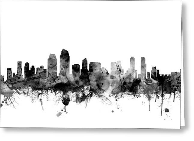 Usa Digital Greeting Cards - San Diego California Skyline Greeting Card by Michael Tompsett