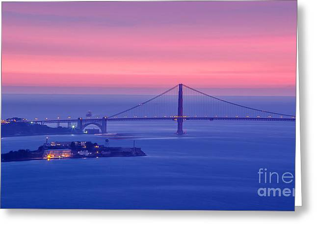 Famous Bridge Greeting Cards - San Francisco Golden Gate Bridge at sunset Greeting Card by Engel Ching