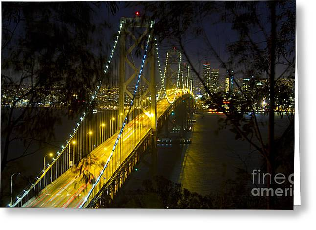 Bay Bridge Greeting Cards - San Francisco Skyline at Night Greeting Card by ELITE IMAGE photography By Chad McDermott