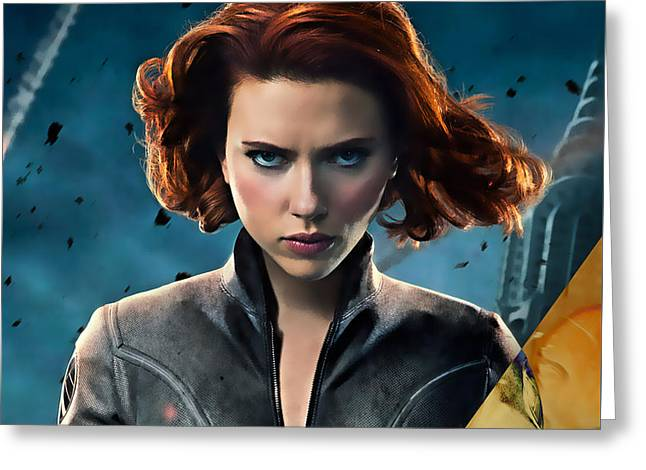 Scarlett Johansson Black Widow Collection Greeting Card by Marvin Blaine