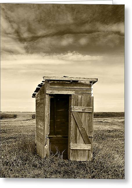 School Outhouse Toilet Greeting Card by Donald  Erickson