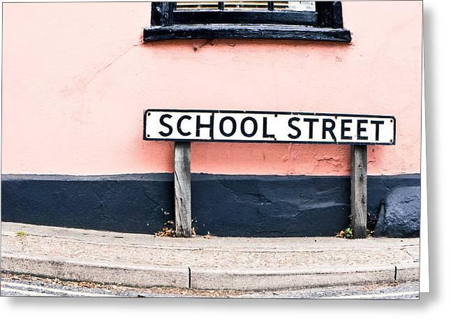 School Street Greeting Card by Tom Gowanlock