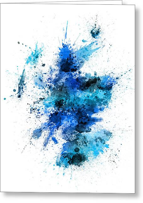 Splash Digital Greeting Cards - Scotland Paint Splashes Map Greeting Card by Michael Tompsett