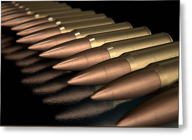Scratched Bullet Row Greeting Card by Allan Swart