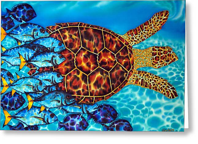 Tang Tapestries - Textiles Greeting Cards - Sea  Turtle Greeting Card by Daniel Jean-Baptiste