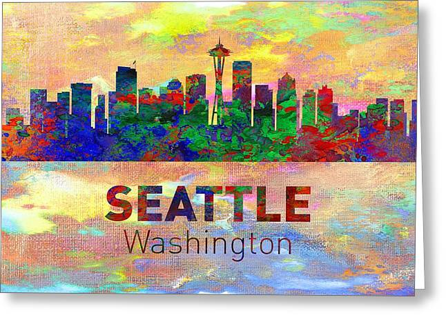 Seattle Skyline Greeting Cards Greeting Cards - Seattle Skyline - Usa City Greeting Card by Michael Vicin