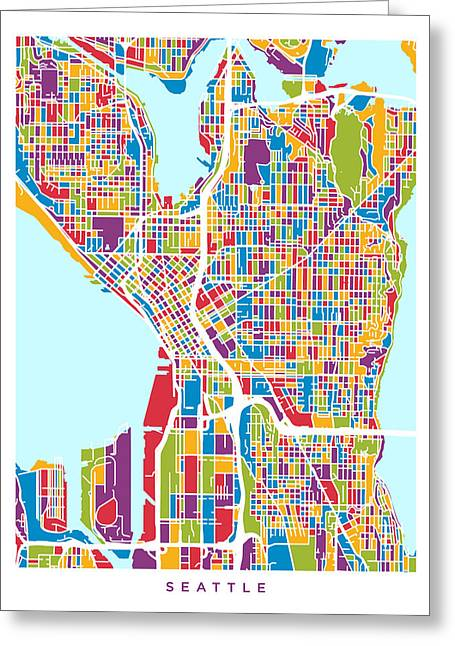 Streets Digital Greeting Cards - Seattle Washington Street Map Greeting Card by Michael Tompsett