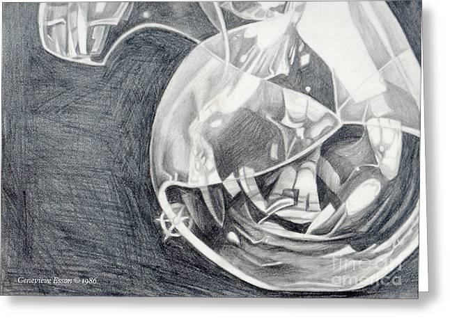 Graphite Art Drawings Greeting Cards - Self-Portrait In Glass Greeting Card by Genevieve Esson