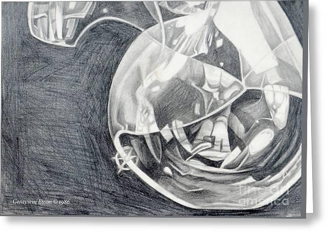 Genevieve Drawings Greeting Cards - Self-Portrait In Glass Greeting Card by Genevieve Esson
