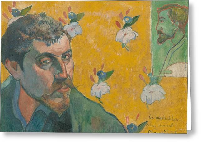 Self Portrait With Portrait Of Bernard Greeting Card by Paul Gauguin