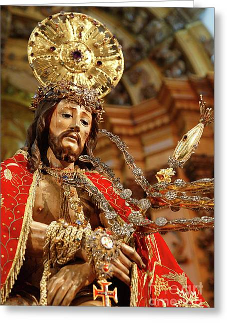 Jesus Christ Icon Greeting Cards - Senhor Bom Jesus da Pedra Greeting Card by Gaspar Avila