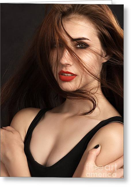 Hair Dye Greeting Cards - Sensual Girl Greeting Card by Aleksey Tugolukov