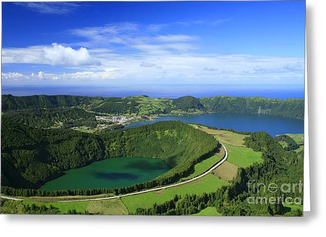 Crater Lake View Greeting Cards - Sete Cidades crater Greeting Card by Gaspar Avila