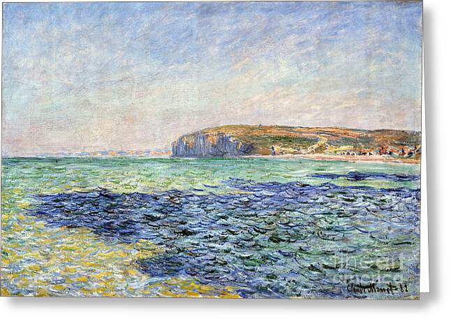 Vintage Painter Greeting Cards - Shadows on the Sea - The Cliffs at Pourville Greeting Card by Claude Monet