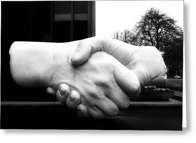 Hands Sculptures Greeting Cards - Shaking Hands Of Sacramento Greeting Card by Mountain Dreams
