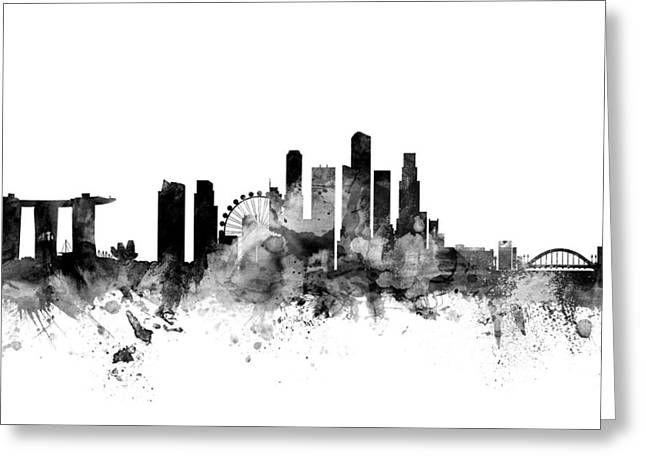 Cityscape Digital Art Greeting Cards - Singapore Skyline Greeting Card by Michael Tompsett