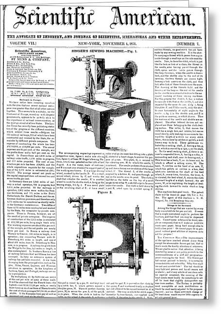 Magazine Pages Greeting Cards - Singer Sewing Machine Greeting Card by Granger