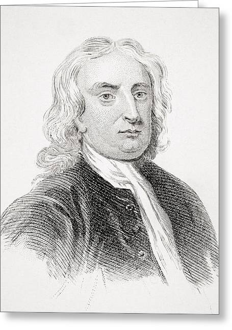 Isaac Newton Greeting Cards - Sir Isaac Newton 1642-1727 English Greeting Card by Ken Welsh