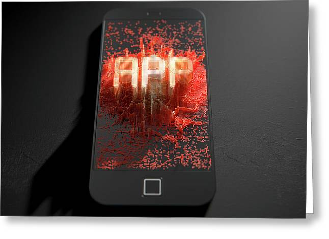 Smart Phone Emanating App Greeting Card by Allan Swart